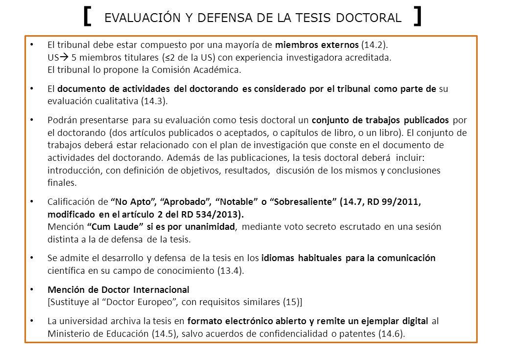 [ EVALUACIÓN Y DEFENSA DE LA TESIS DOCTORAL ]
